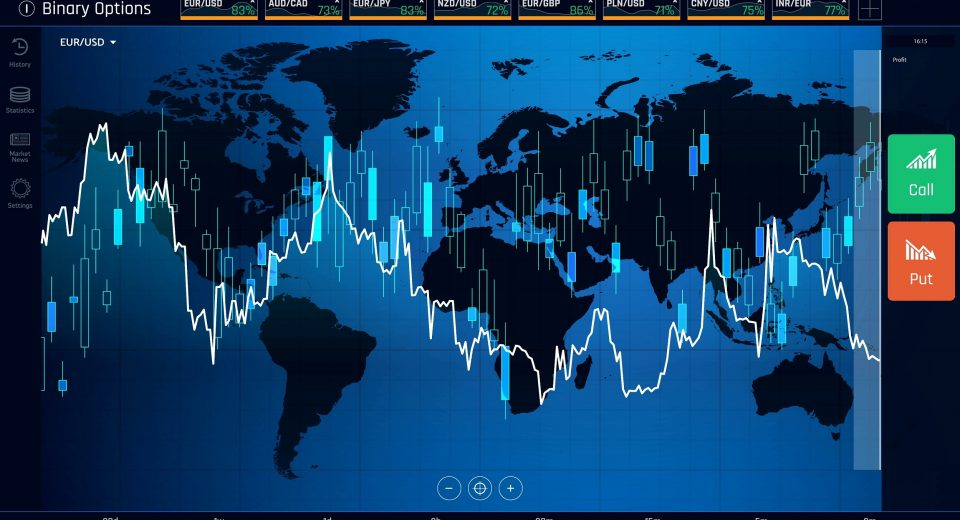 Web interface of binary option trading, financial statistics with asset pricing